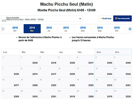 Disponibilités du Billet Machu Picchu